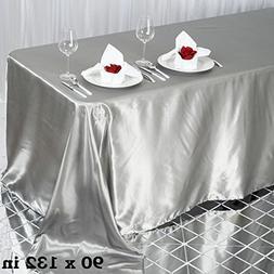 "Efavormart 90x132"" Rectangle SILVER Wholesale SATIN Tableclo"