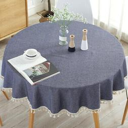 Simple Round Tassel Tablecloth Table Cover Kitchen Dining Ba