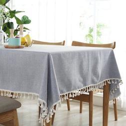 ColorBird Solid Color Tassel Tablecloth Cotton Linen Dust-Pr