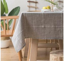 ColorBird Solid Embroidery Tablecloth Cotton Linen Dust-Proo