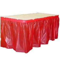 Exquisite Solid Color 14 Ft. Plastic Tablecloth Skirt, Dispo