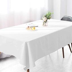 Wimaha 52x70In Solid White Rectangle Tablecloth for Rectangu