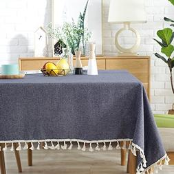 ColorBird Solid Color Tassel Tablecloth Cotton Linen Dust-Pr