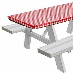 Sorefy Vinyl Fitted Picnic Table Cover Checkered Design Flan