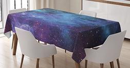 Space Decorations Tablecloth by Ambesonne, Galaxy Stars in S