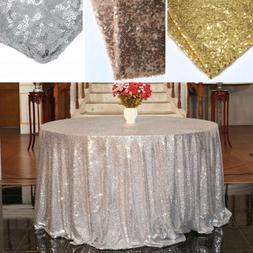 Sparkly Sequin Tablecloth Round Wedding Table Cover Cloth Ba