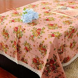 Square dining table with cotton cloth , pink , 140*220cm