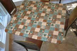 Square Fitted Vinyl Table Cover Flannel Back Cloth Coffee Pa