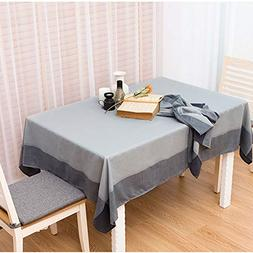 LEEVAN Stitching Tablecloth Cotton Linen Dust-Proof Table Co
