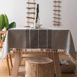 Stitching Tassel Cotton Linen Fabric Tablecloth for Kitchen