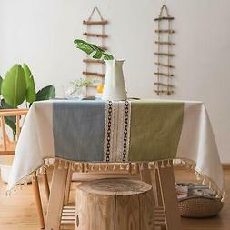 ColorBird Stitching Tassel Tablecloth Cotton Linen Dust-Proo