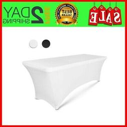 8 ft White Rectangular Linen Tablecloth - Spandex Fitted Tab