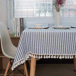 Bringsine Stripe Tassel Tablecloth Cotton Linen Stain Resist