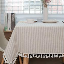ColorBird Stripe Tassel Tablecloth Cotton Linen Dust-proof T