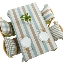 Striped Tablecloth Cotton Linen Waterproof Fabric Square Kit