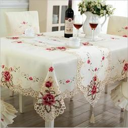 Style Wedding Tablecloth Embroidered Floral Lace Edge Dustpr