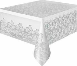 Stylish 9ft Floral Lace White Plastic Tablecloth Decorative