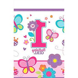 Amscan Plastic Table Cover   1st Birthday   Girl   Flowers a