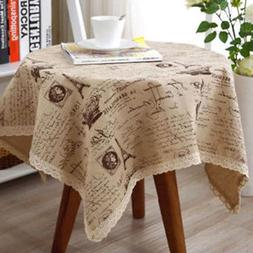 Table Cloth Cover Tower Printed Cotton Linen Dining Lace for