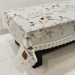 Table Cloth Rectangle Floral Print with Lace Border 4 Seater