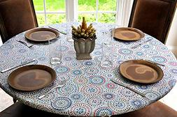"Table Cloth Round 45"" to 56"" Elastic Edge Fitted Vinyl Table"