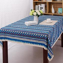 RUIHE Table Cloth Washable 100% Cotton Linen Lace Bohemian S