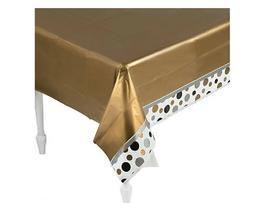 Table Cover Gold w/border of Grey black & Gold polka dots 54