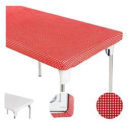 TopTableCloth Table Cover Red & White Checker Elastic on the