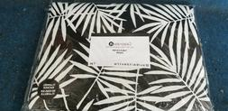 Table Cover with Felt backing Black w White leaves NWT 52x70