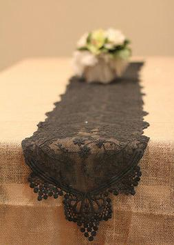 Table Runner Black Lace Table Linens Wedding Table Covers  1