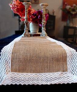 Table Runner Burlap Cotton Lace Table Linens Wedding Table C