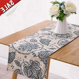 Table Runner Linen Textured 13 x 72 inch Scroll Patten Trian