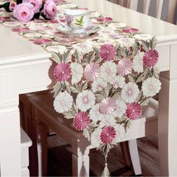 Table Runner Pink Floral Embroidered Dining Wedding Party De