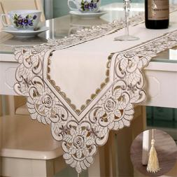 Table Runner Ployester Lace Embroidered Floral Table Cover R