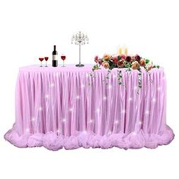 LED Table Skirt 6ft Pink Tulle Table Skirt Tutu Table Cloth