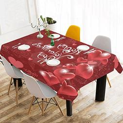 InterestPrint Tablecloth Happy Valentine's Day Red Home Deco