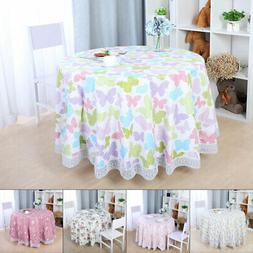 Tablecloths PVC Round Table Cover Water Resistant Flower Edg