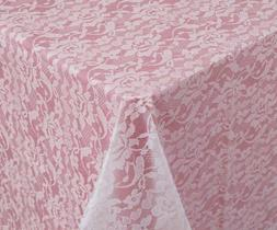 """Tablecover, Plastic 54""""x108"""", Lace Look - White"""