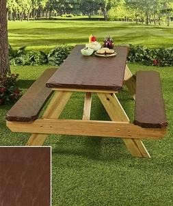 Textured Picnic Table Covers - Chocolate Brown 3-Pc