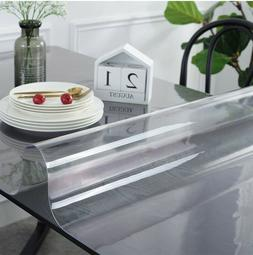 Muka Thick PVC Clear Table Cover Protector Heavy-Duty No Pla