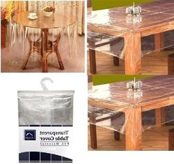 TRANSPARENT WIPE CLEAN PVC VINYL TABLECLOTH DINING KITCHEN T
