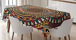 Tribal Decor Tablecloth by Ambesonne, African Folkloric Trib