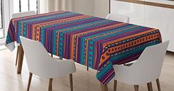Tribal Tablecloth by Ambesonne, Striped Retro Aztec Pattern