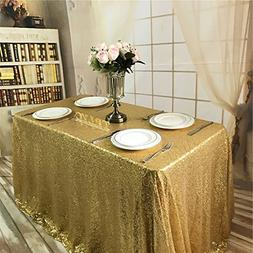 TRLYC 50x50-Inch Square Sequin Tablecloth for Wedding Happy