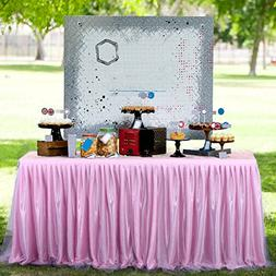 Tulle Pink Table Skirt for Round or Rectangle Tables Dessert