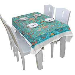 BAIHUISHOP Turquoise Flower Tree Tablecloth Rectangular Poly