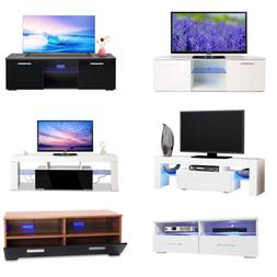 TV Cabinet Stand Entertainment Unite High Light Wood LED Gla