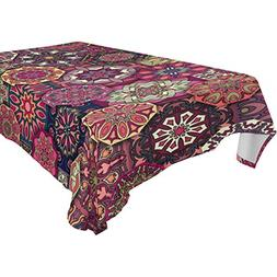 U LIFE Vintage Floral Patchwork Mandala Washable Tablecloths
