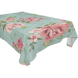 U LIFE Vintage Floral Roses Small Flowers Washable Tableclot