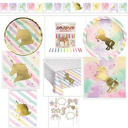 Unicorn Birthday Party Total Package Bundle Includes: Happy